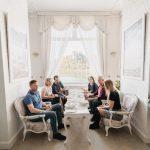 People enjoying a meal in a fancy restaurant