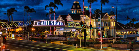 Carlsbad city sign in the night